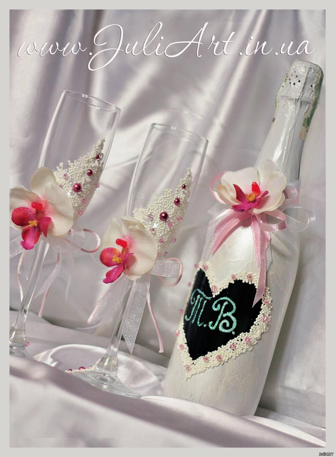 Свечи и свадебные бокалы своими руками