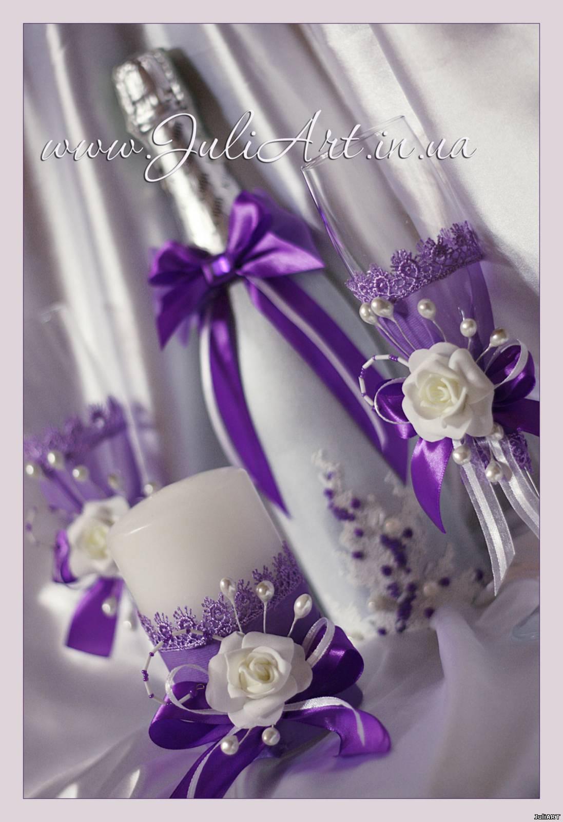 Бокалы для свадьбы в сиреневом цвете фото